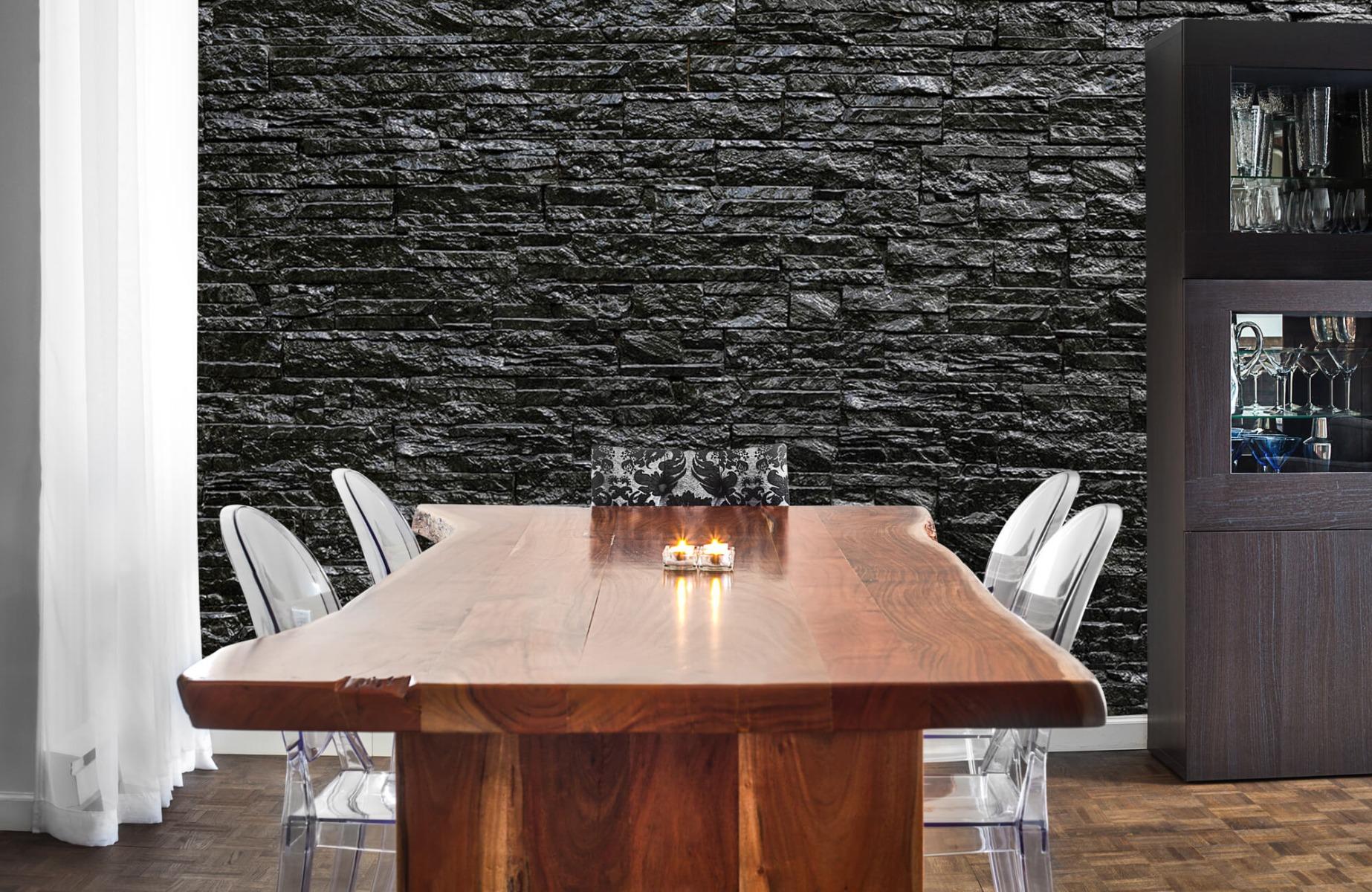 Steen behang - Zwarte stenen - Wallexclusive - Slaapkamer 3