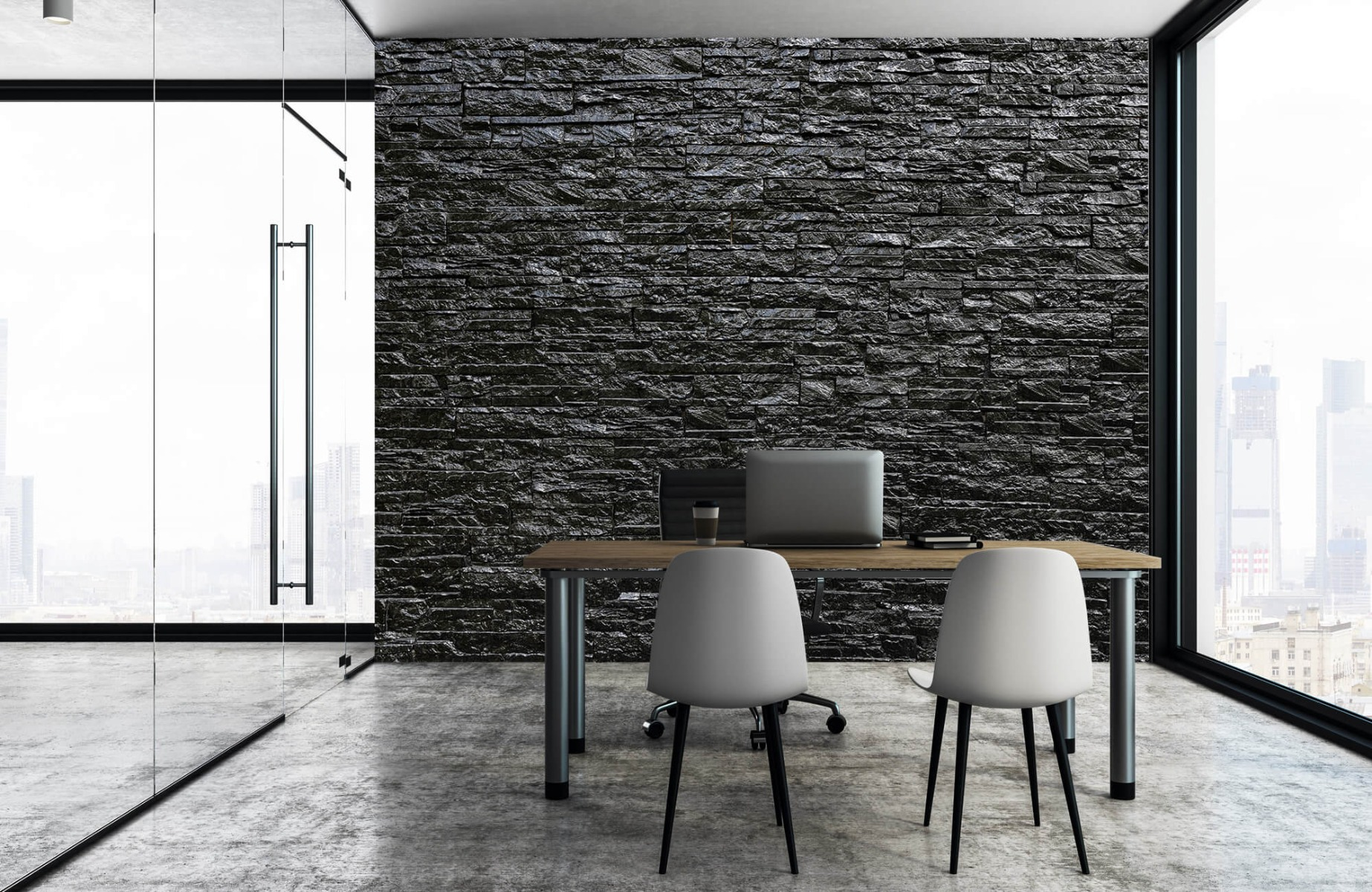 Steen behang - Zwarte stenen - Wallexclusive - Slaapkamer 4