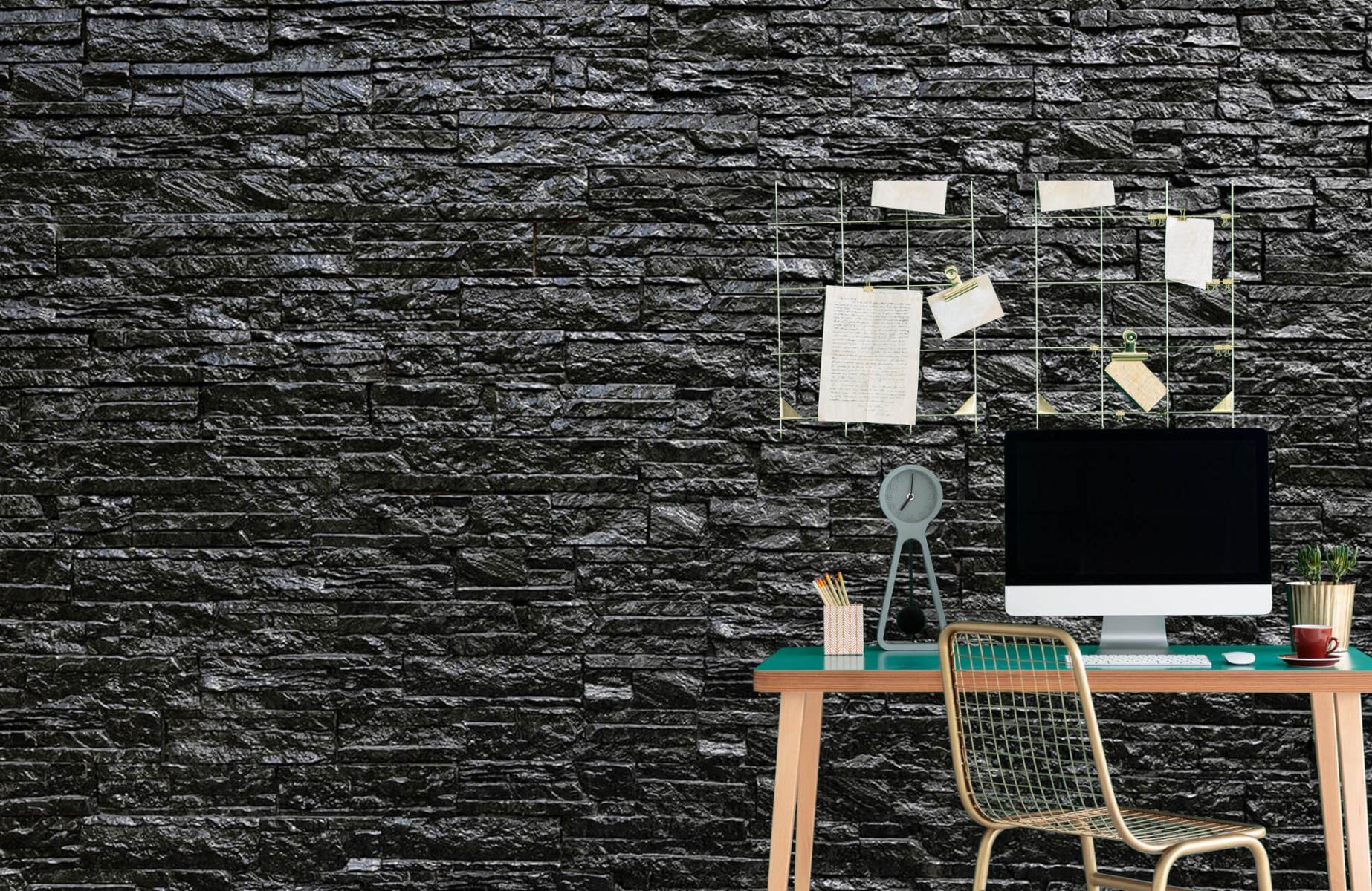 Steen behang - Zwarte stenen - Wallexclusive - Slaapkamer 7