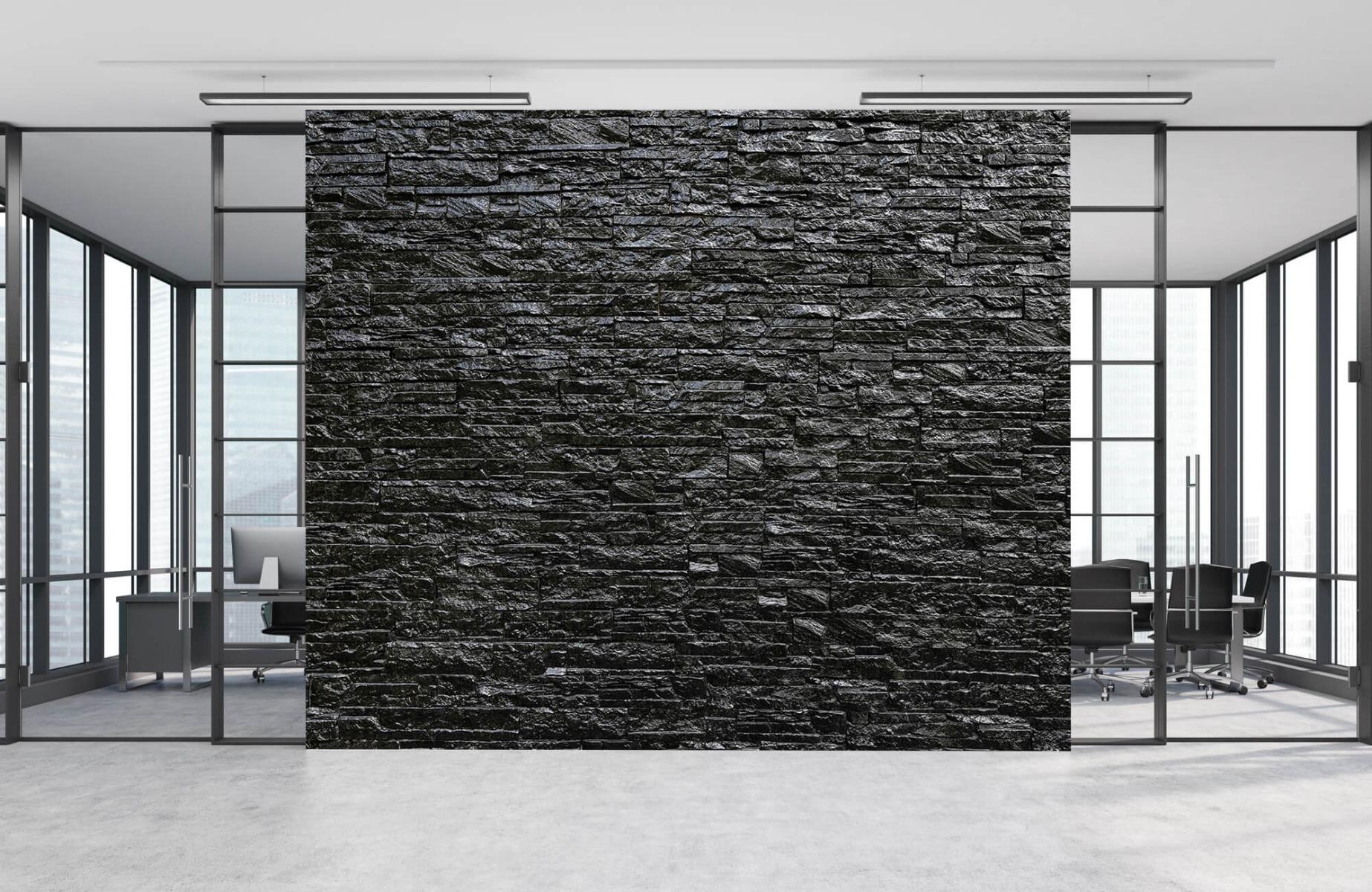 Steen behang - Zwarte stenen - Wallexclusive - Slaapkamer 8