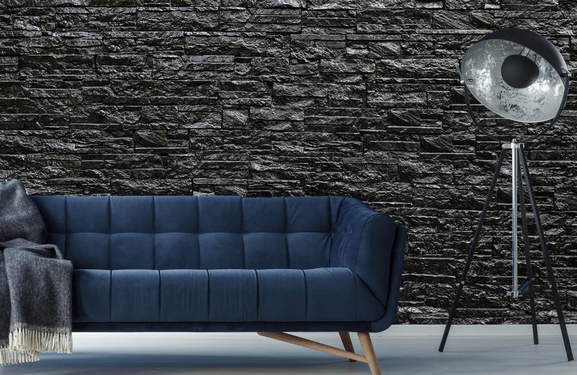 Steen behang - Zwarte stenen - Wallexclusive - Slaapkamer 10