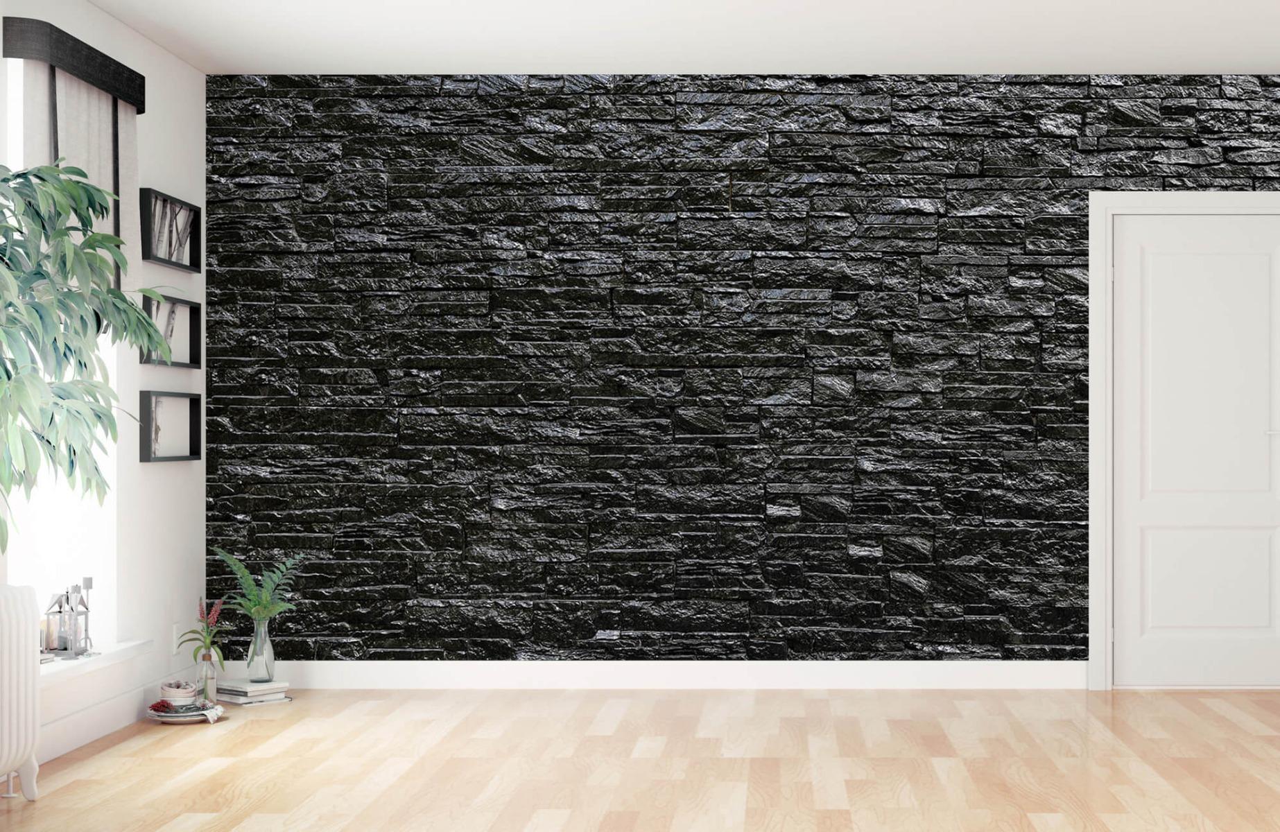 Steen behang - Zwarte stenen - Wallexclusive - Slaapkamer 11