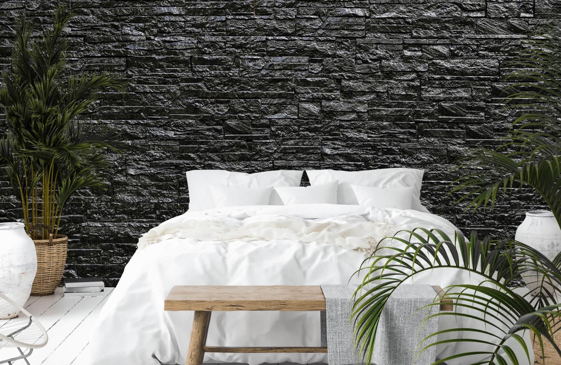 Steen behang - Zwarte stenen - Wallexclusive - Slaapkamer 13