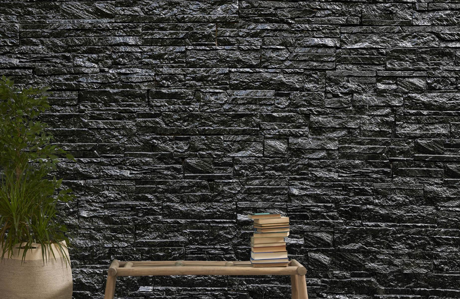 Steen behang - Zwarte stenen - Wallexclusive - Slaapkamer 20