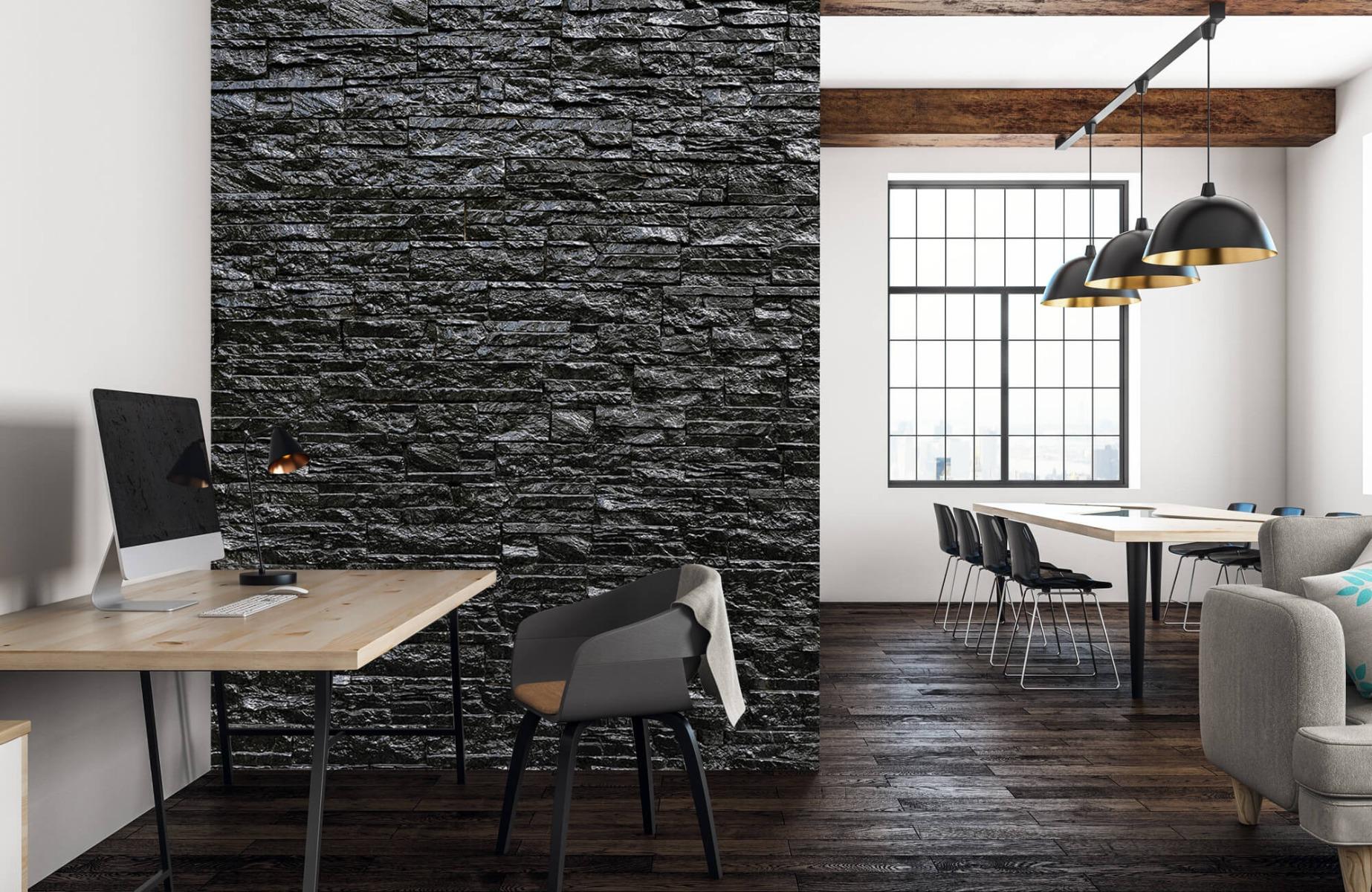 Steen behang - Zwarte stenen - Wallexclusive - Slaapkamer 22