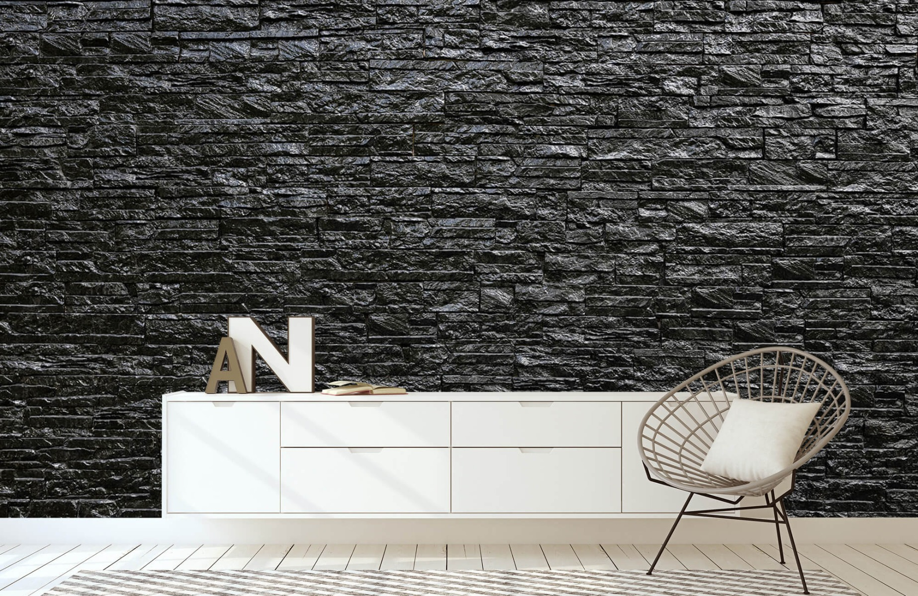 Steen behang - Zwarte stenen - Wallexclusive - Slaapkamer 23