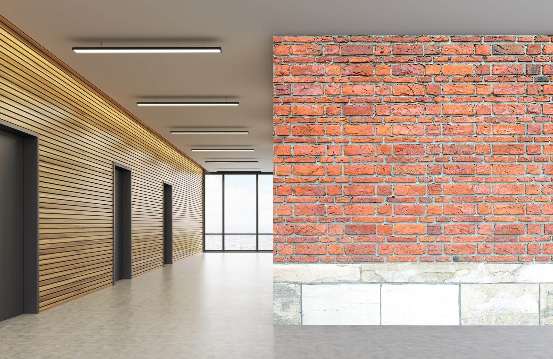 Steen behang - Bakstenen met oud beton - Wallexclusive - Slaapkamer 9