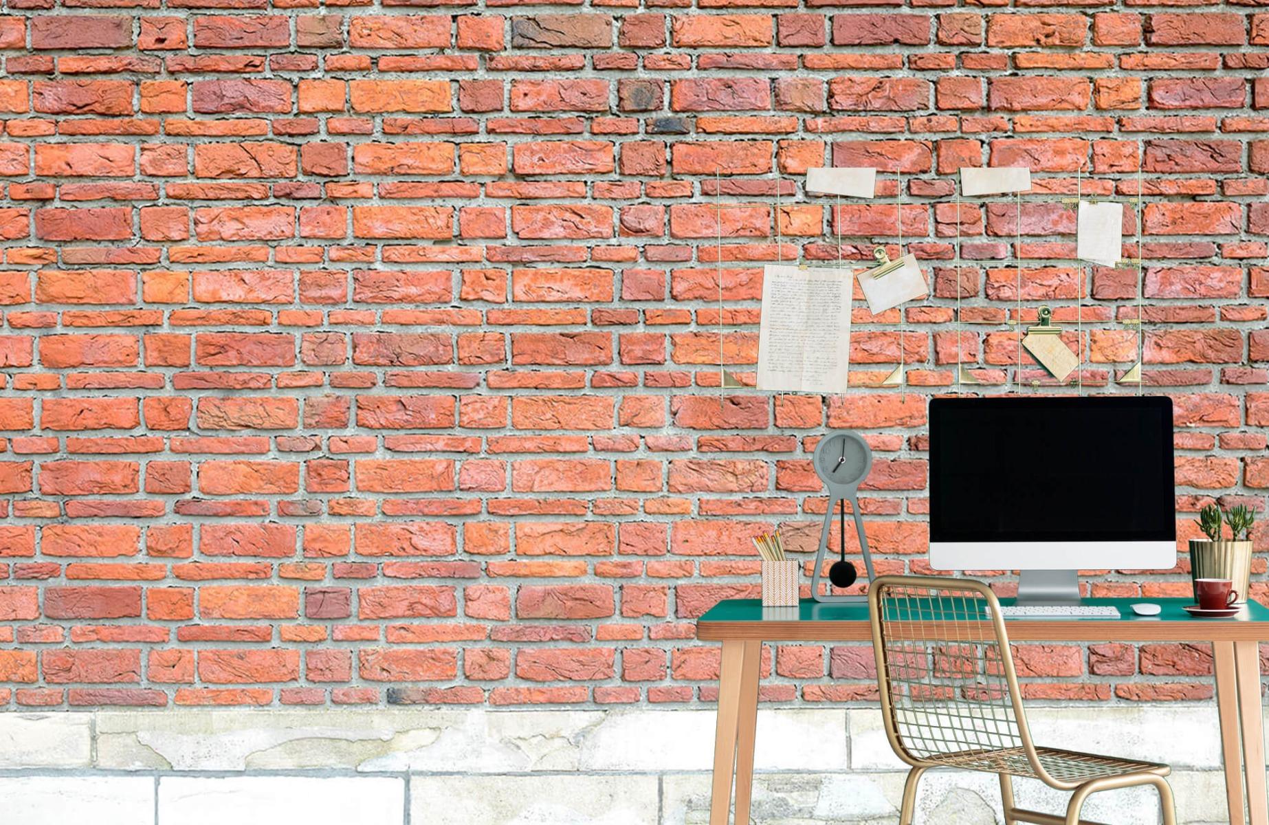 Steen behang - Bakstenen met oud beton - Wallexclusive - Slaapkamer 11