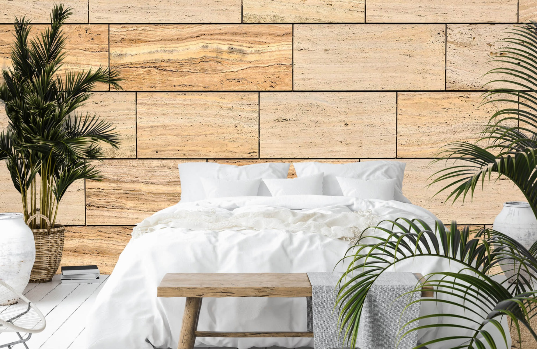 Steen behang - Marmeren muur - Wallexclusive - Slaapkamer 14