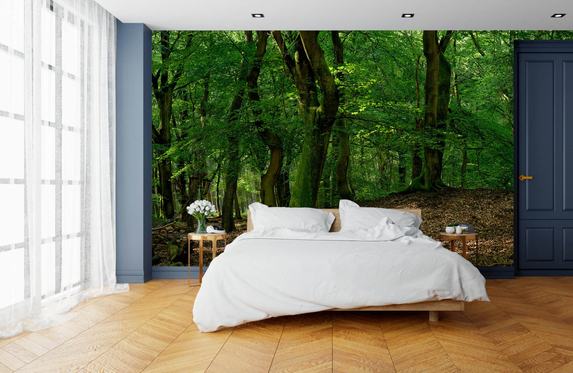 Bos behang - Bomen met groene bladeren - Wallexclusive - Slaapkamer 17