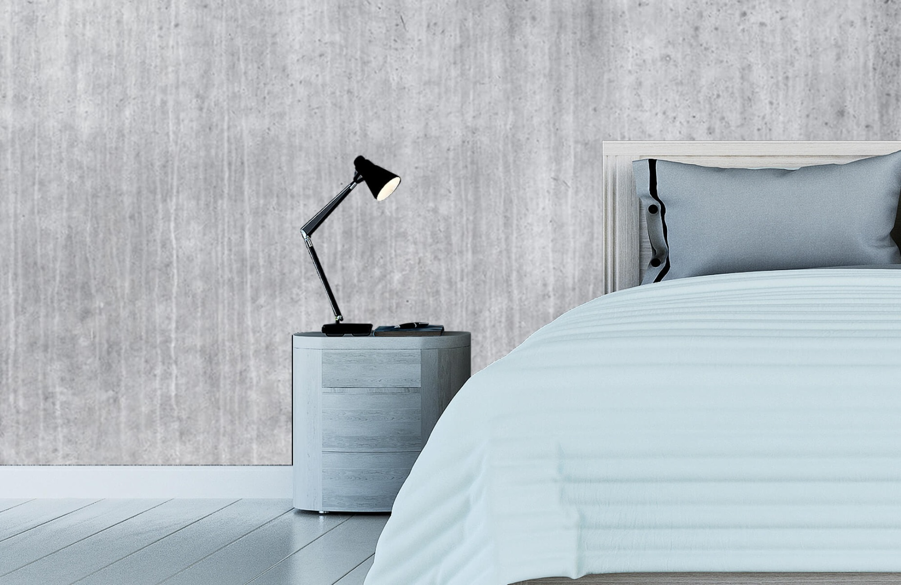 Betonlook behang - Beton met strepen - Wallexclusive - Slaapkamer 5
