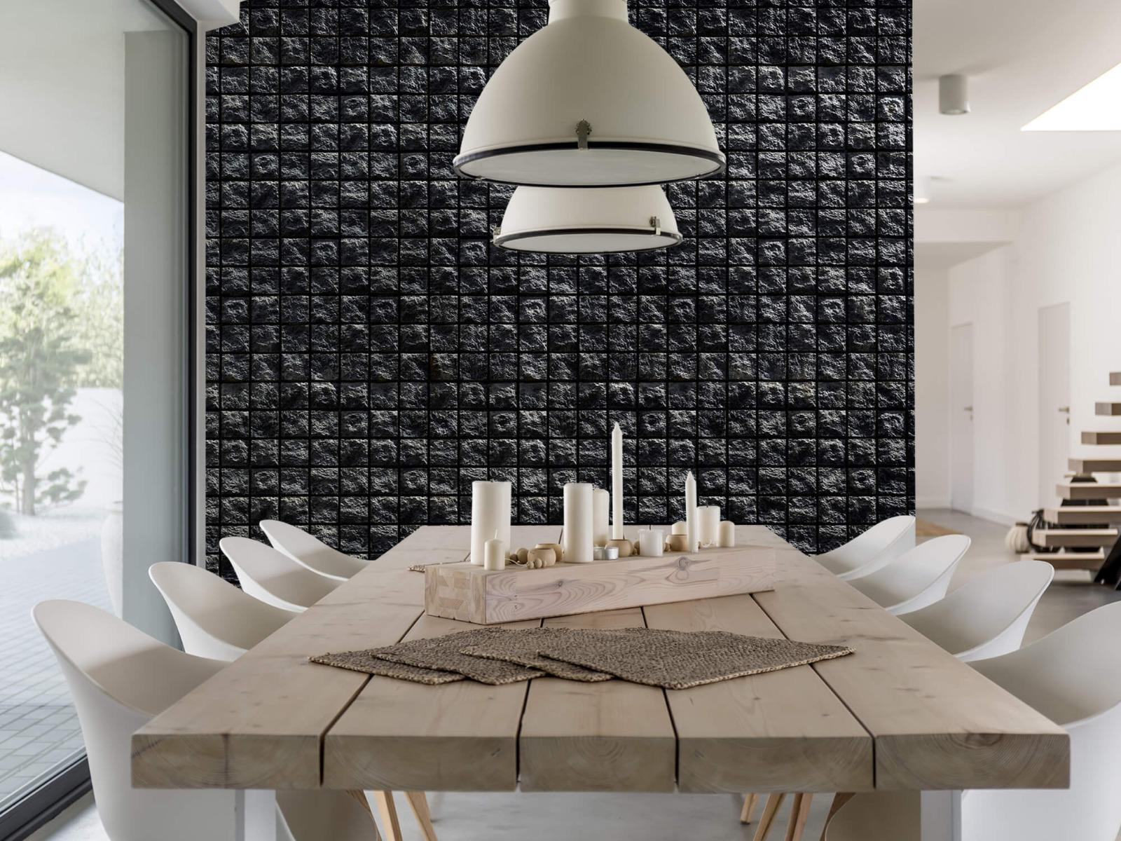 Tegel behang - Vierkante zwarte stenen - Wallexclusive - Woonkamer 1