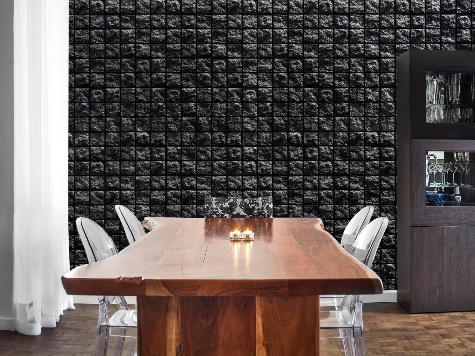 Tegel behang - Vierkante zwarte stenen - Wallexclusive - Woonkamer 2