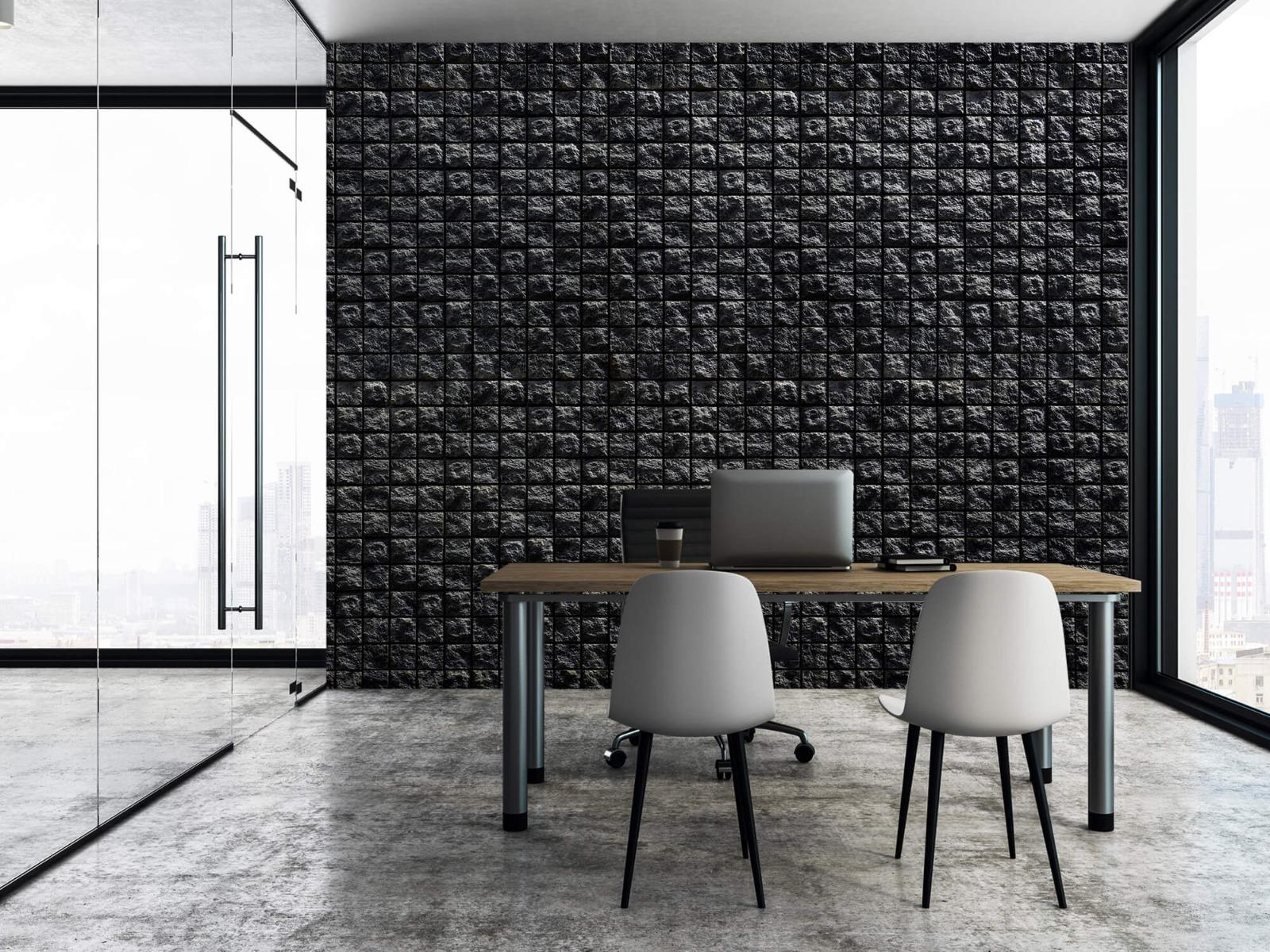 Tegel behang - Vierkante zwarte stenen - Wallexclusive - Woonkamer 3