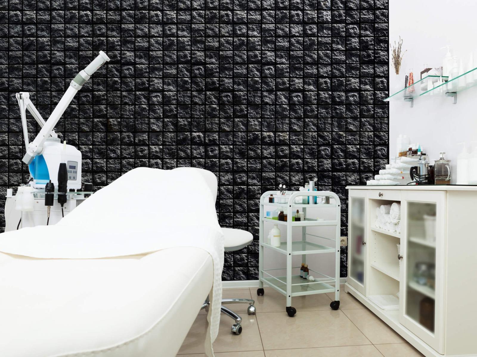 Tegel behang - Vierkante zwarte stenen - Wallexclusive - Woonkamer 4