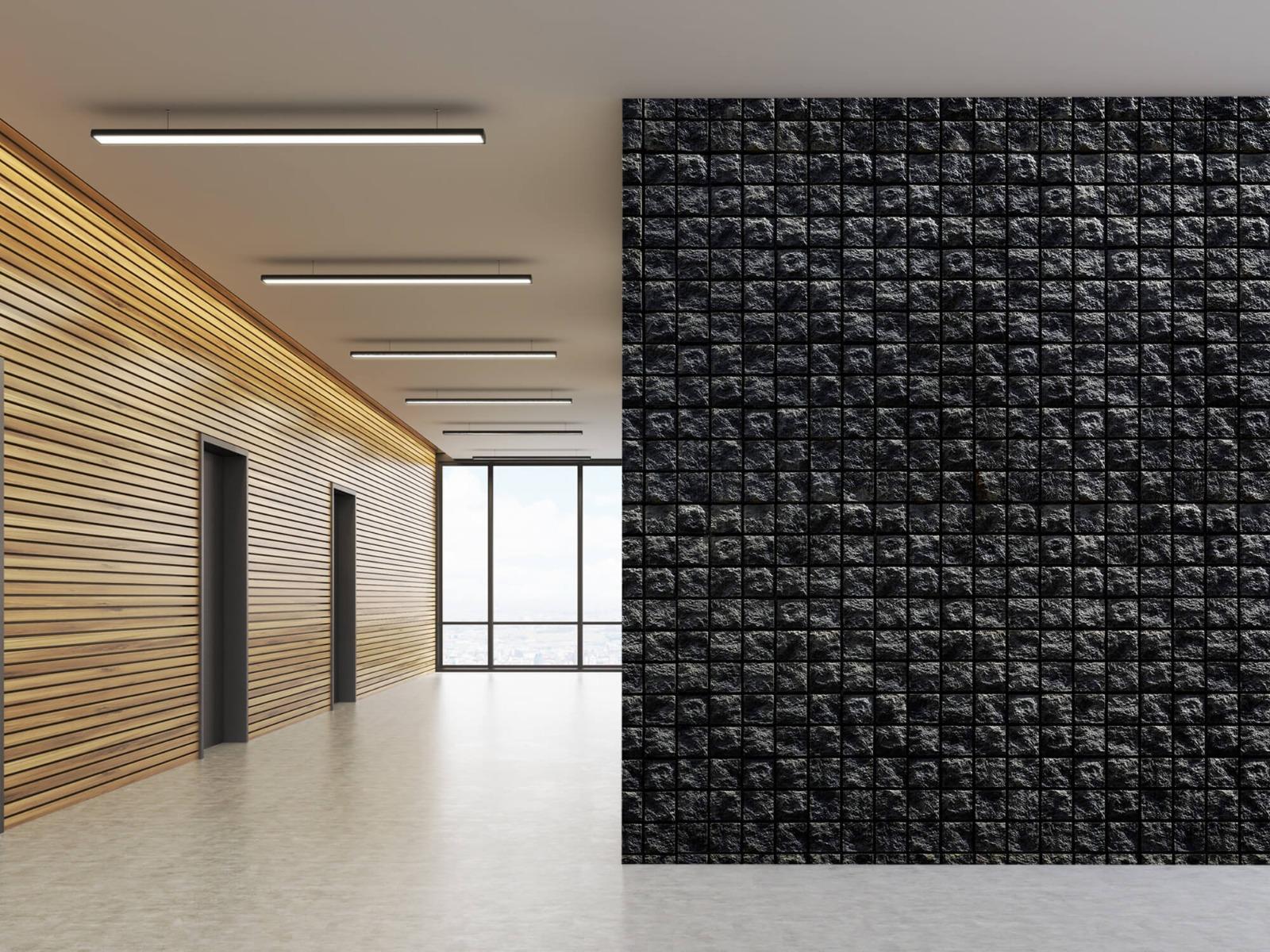 Tegel behang - Vierkante zwarte stenen - Wallexclusive - Woonkamer 5