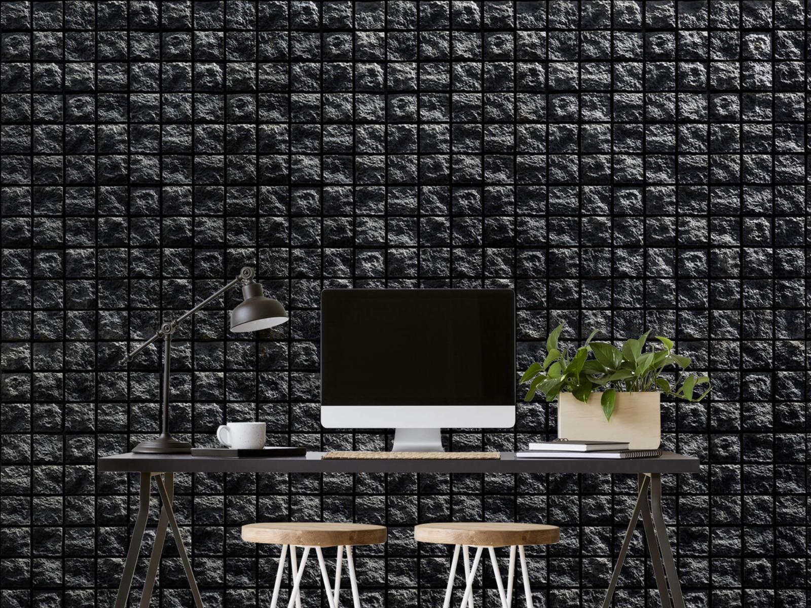 Tegel behang - Vierkante zwarte stenen - Wallexclusive - Woonkamer 6