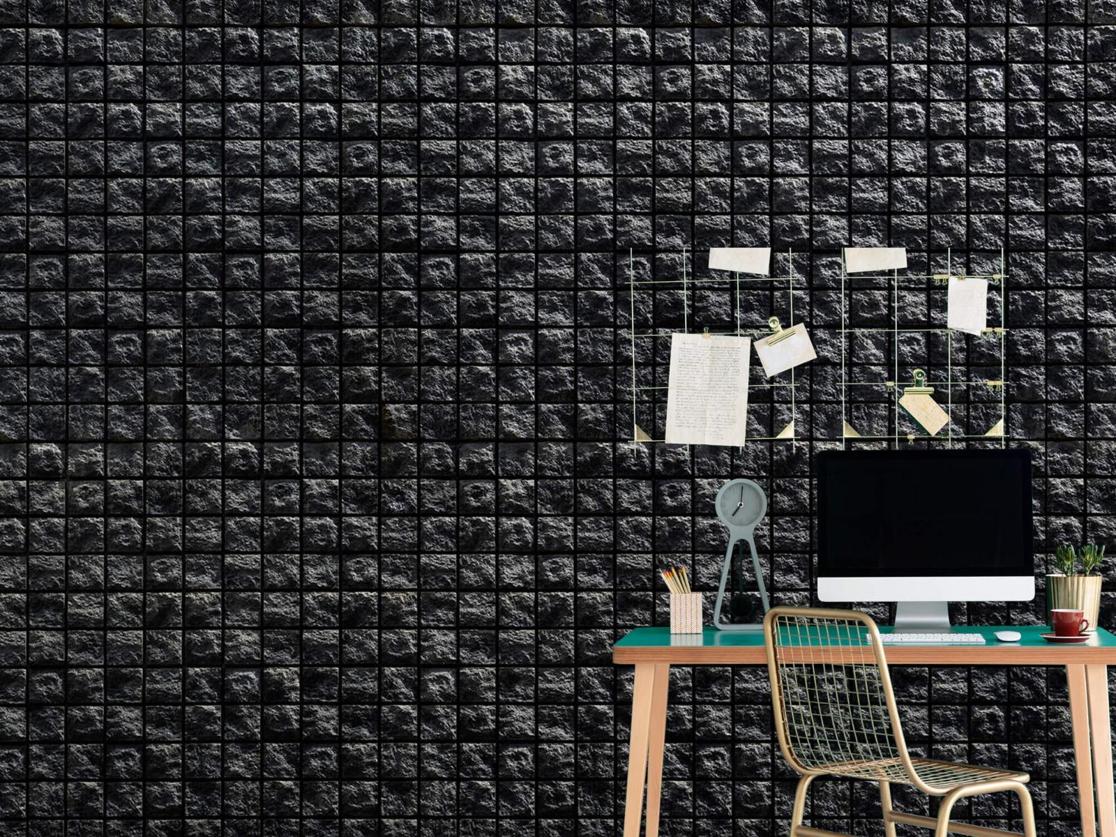 Tegel behang - Vierkante zwarte stenen - Wallexclusive - Woonkamer 7