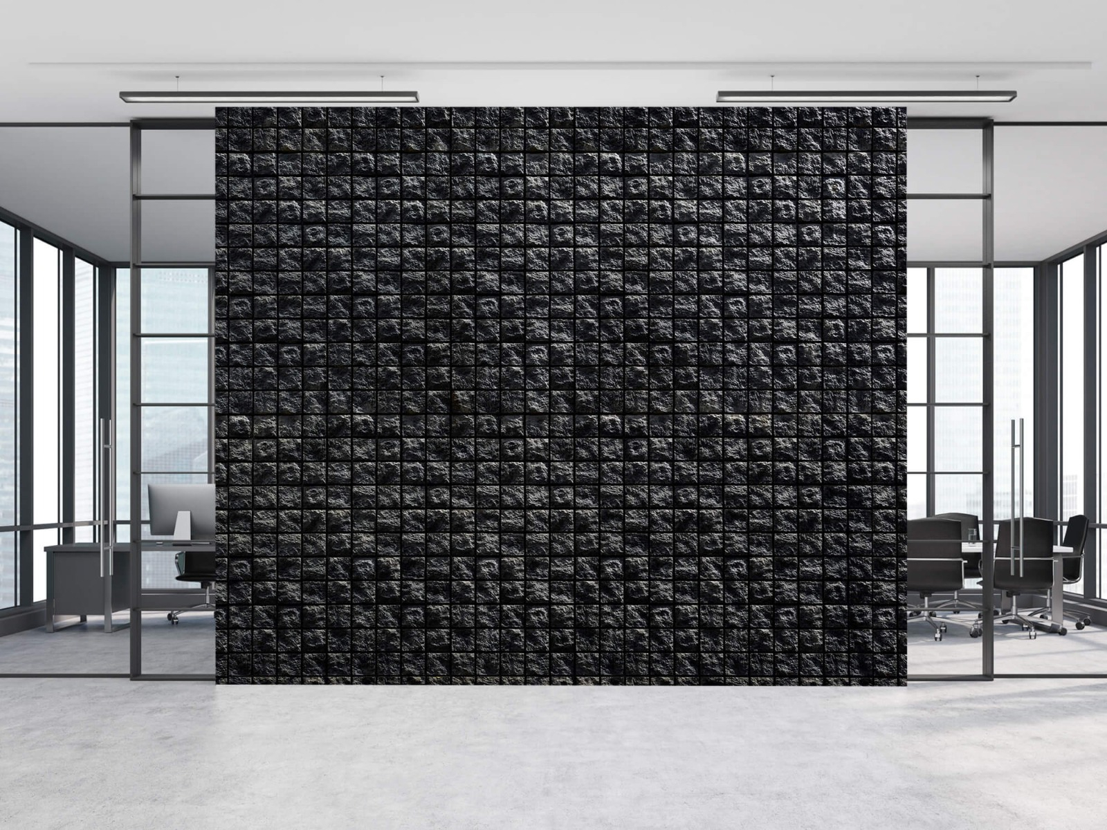 Tegel behang - Vierkante zwarte stenen - Wallexclusive - Woonkamer 8