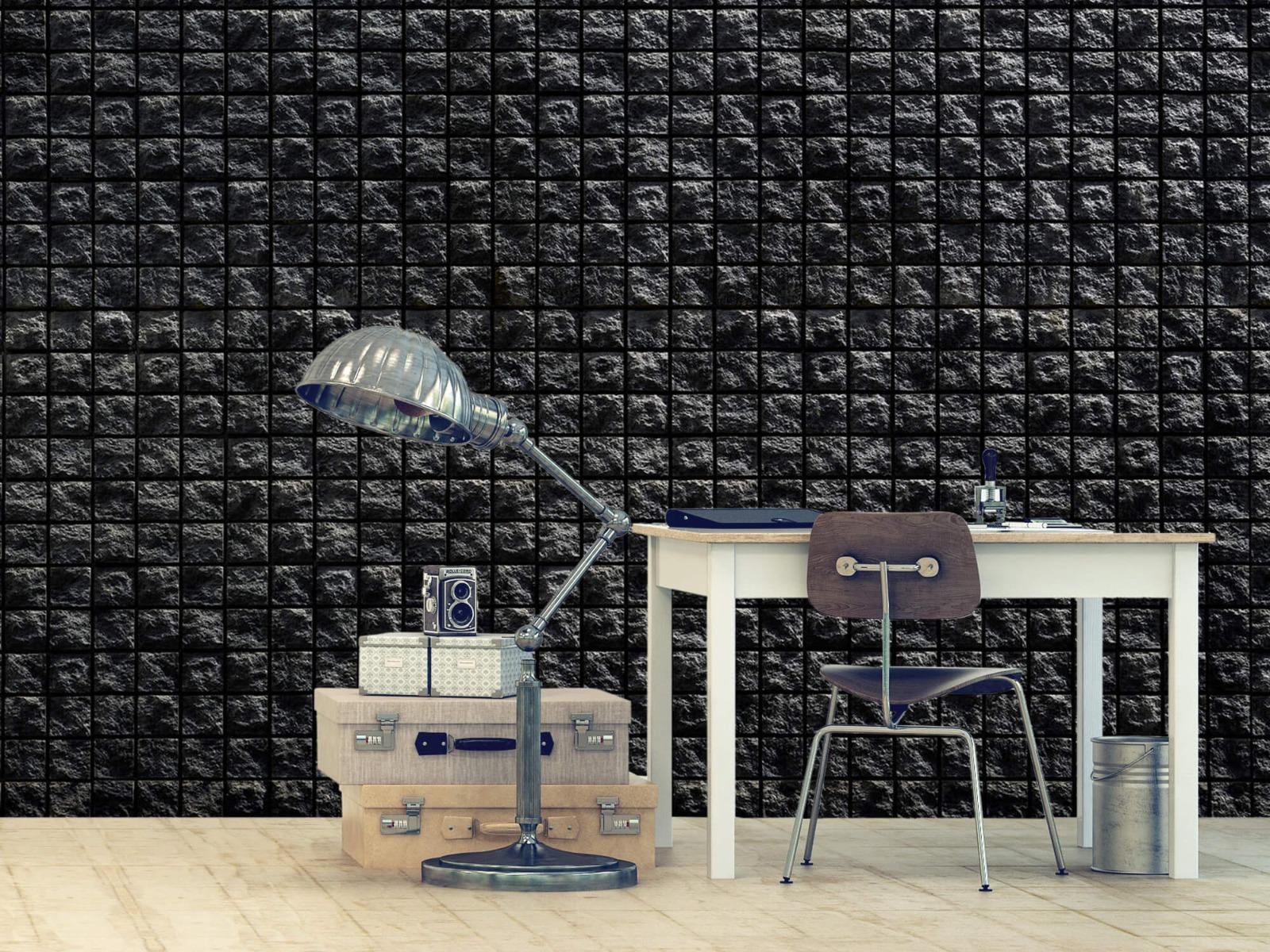 Tegel behang - Vierkante zwarte stenen - Wallexclusive - Woonkamer 9