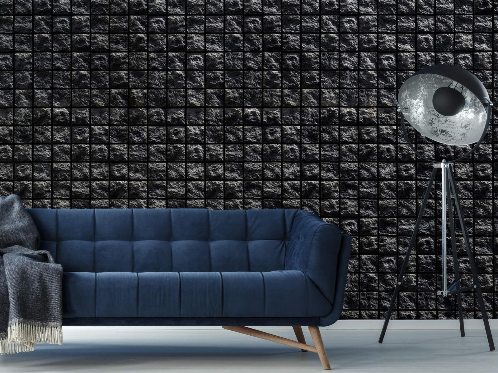 Tegel behang - Vierkante zwarte stenen - Wallexclusive - Woonkamer 10