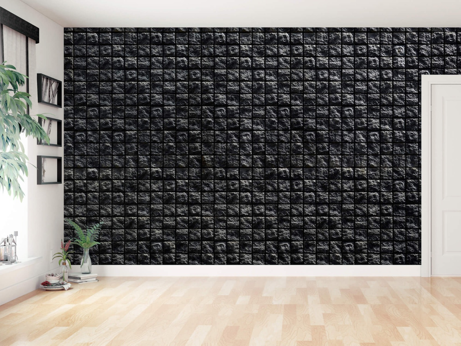 Tegel behang - Vierkante zwarte stenen - Wallexclusive - Woonkamer 11