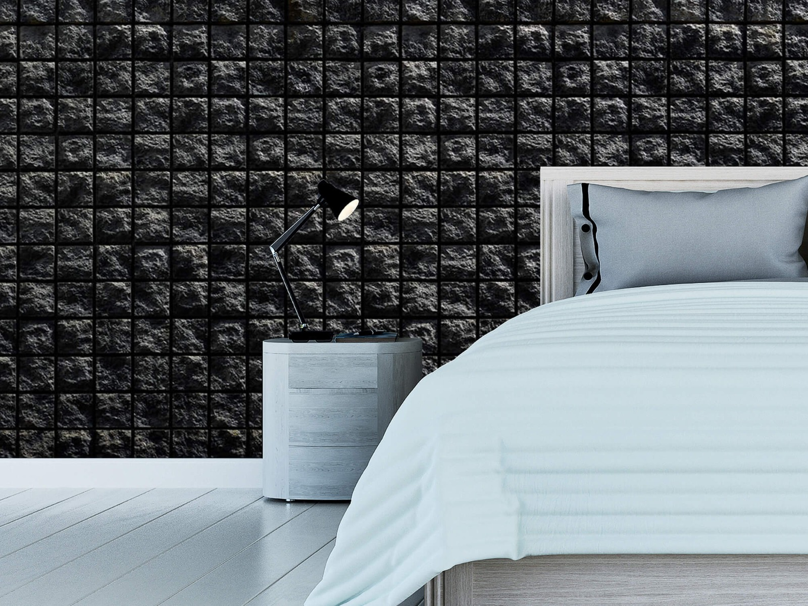 Tegel behang - Vierkante zwarte stenen - Wallexclusive - Woonkamer 12