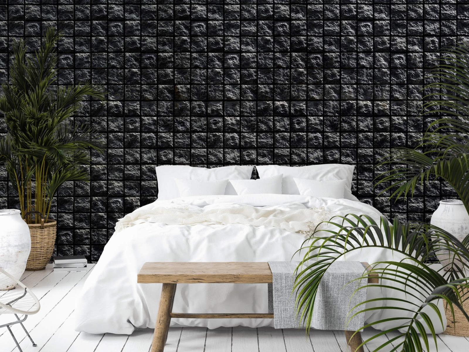 Tegel behang - Vierkante zwarte stenen - Wallexclusive - Woonkamer 13