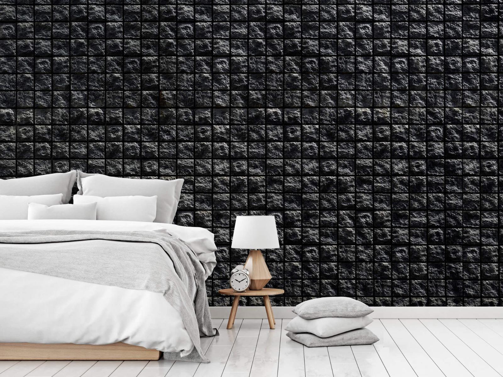 Tegel behang - Vierkante zwarte stenen - Wallexclusive - Woonkamer 14