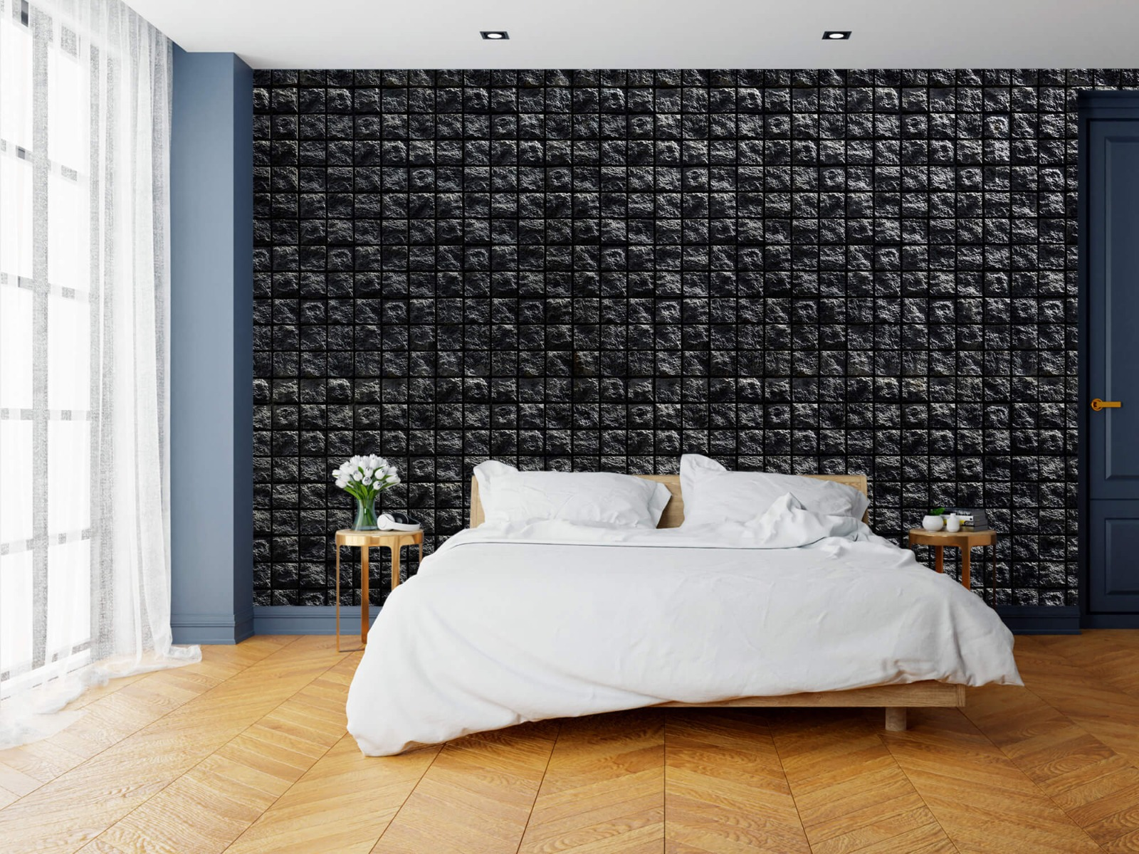 Tegel behang - Vierkante zwarte stenen - Wallexclusive - Woonkamer 15