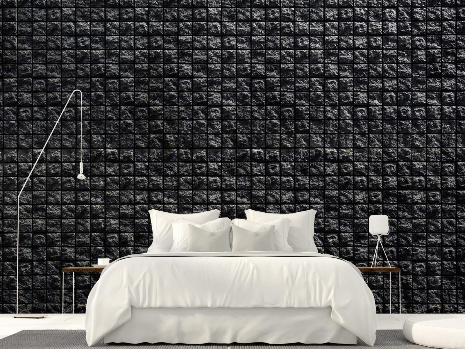 Tegel behang - Vierkante zwarte stenen - Wallexclusive - Woonkamer 16