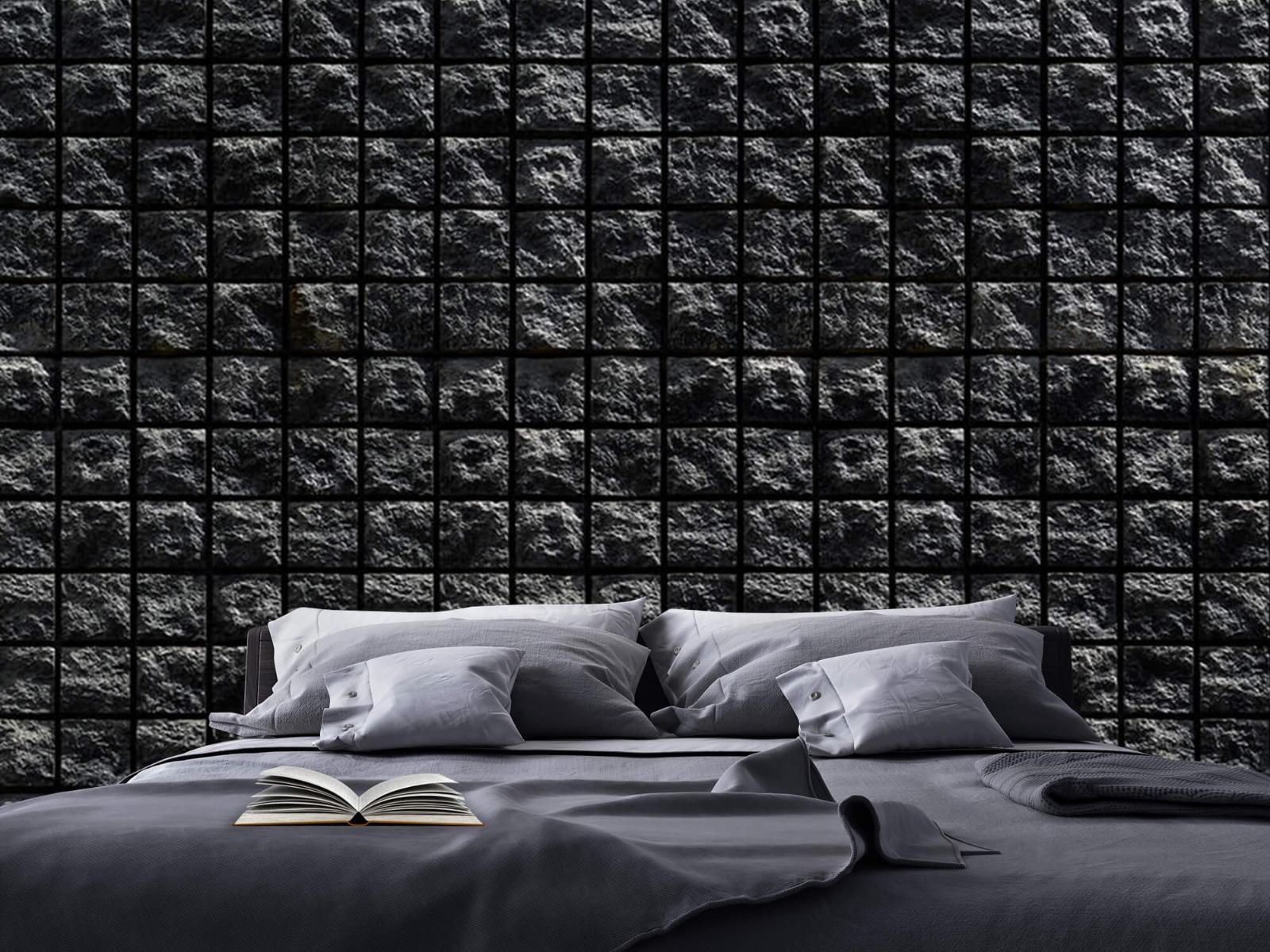Tegel behang - Vierkante zwarte stenen - Wallexclusive - Woonkamer 17
