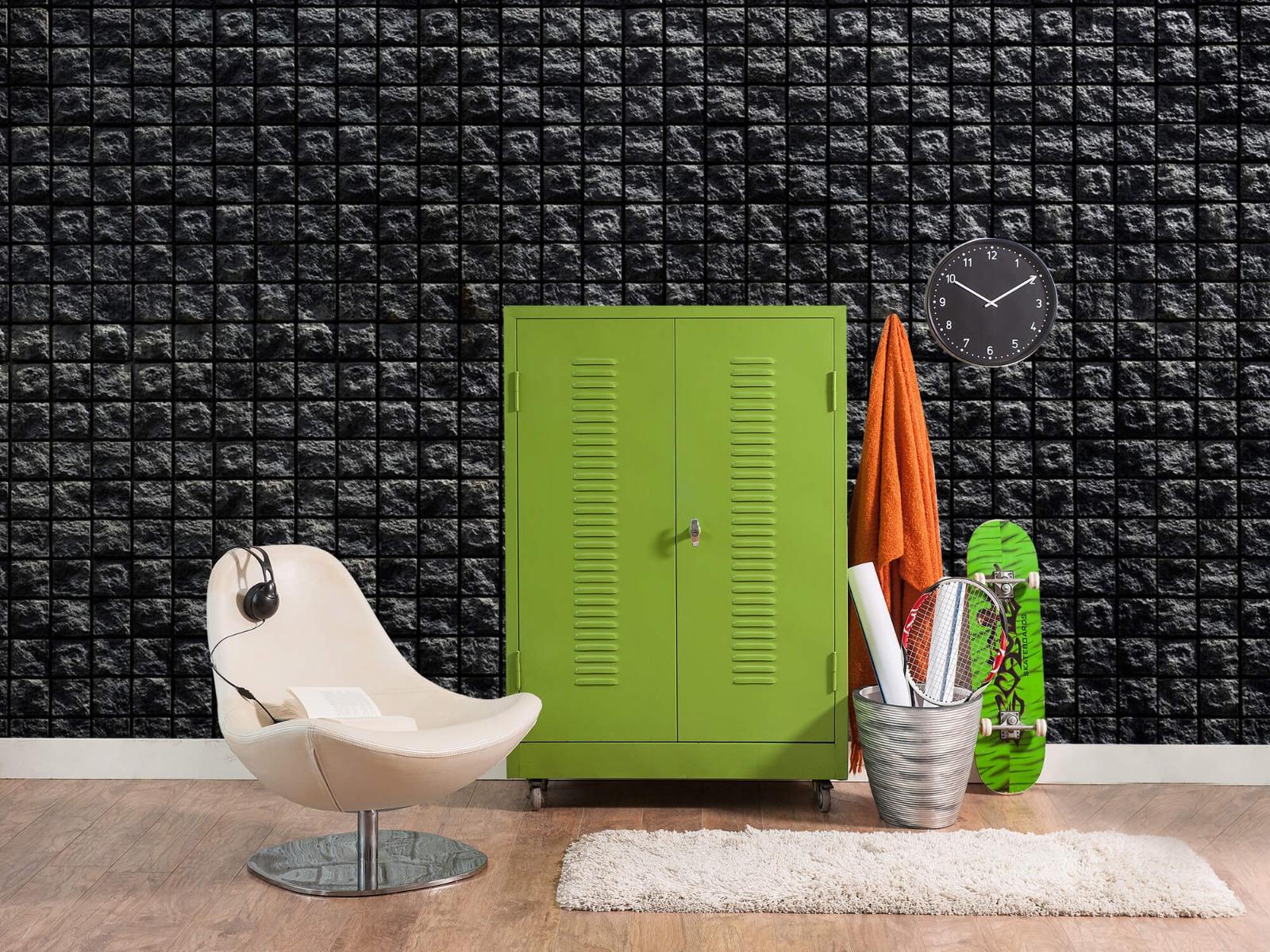Tegel behang - Vierkante zwarte stenen - Wallexclusive - Woonkamer 18