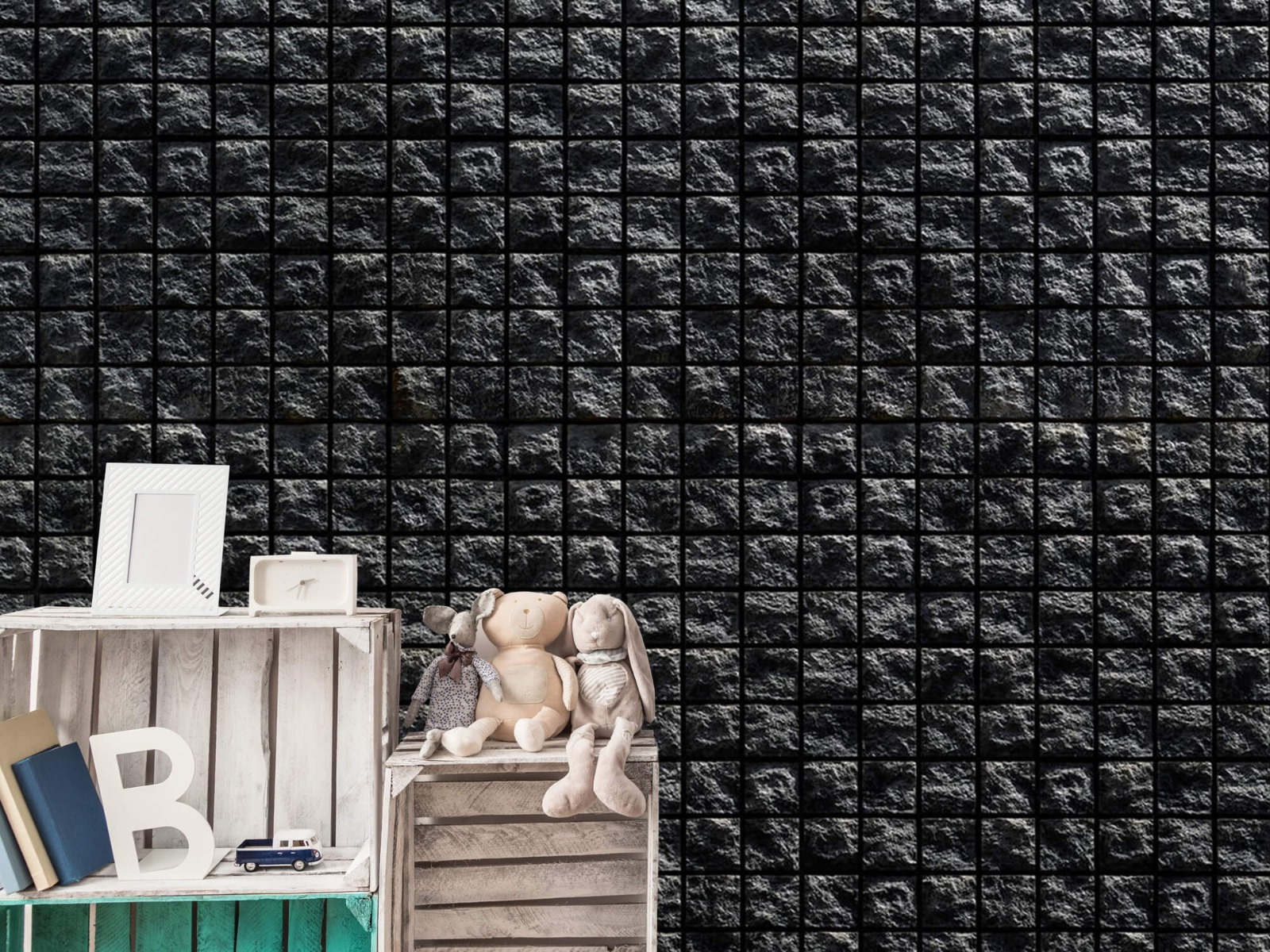 Tegel behang - Vierkante zwarte stenen - Wallexclusive - Woonkamer 19