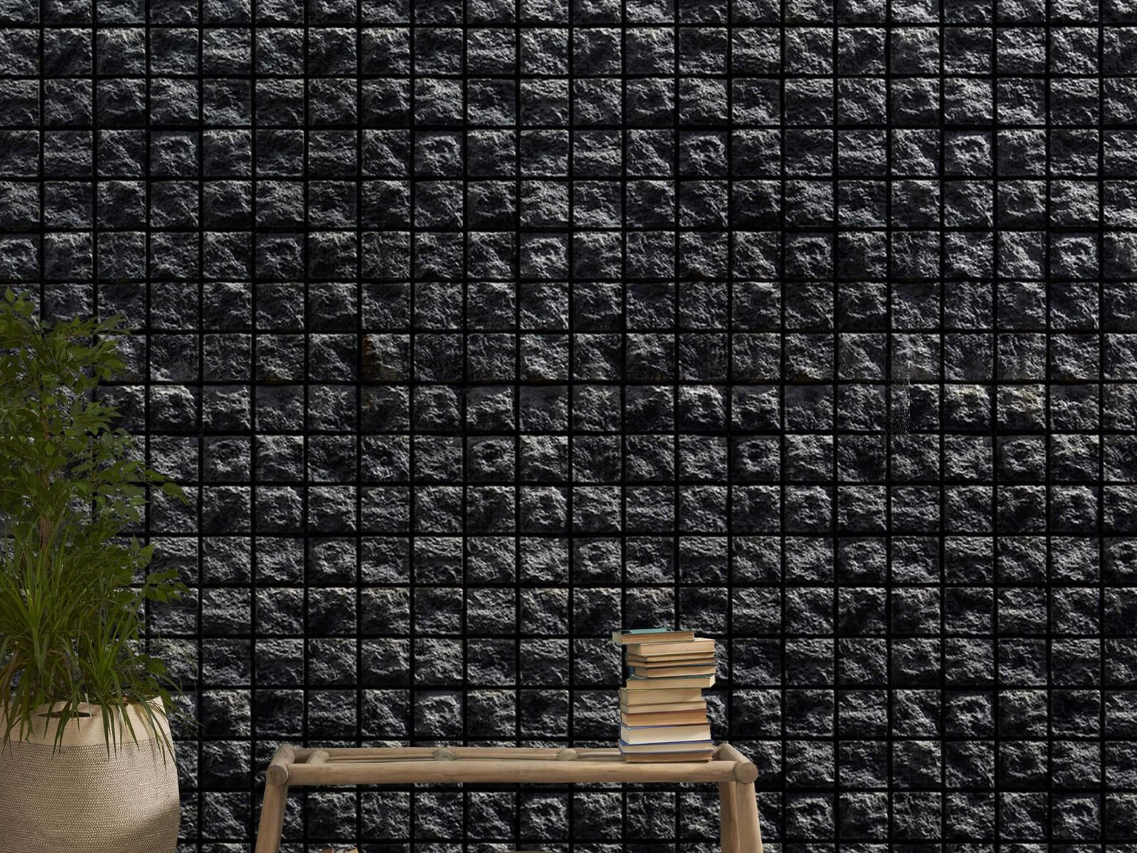 Tegel behang - Vierkante zwarte stenen - Wallexclusive - Woonkamer 20