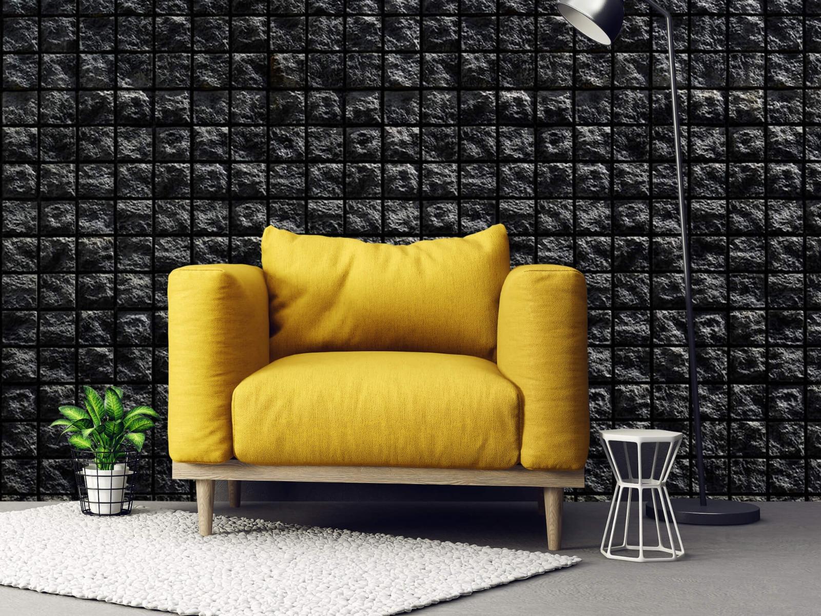 Tegel behang - Vierkante zwarte stenen - Wallexclusive - Woonkamer 21