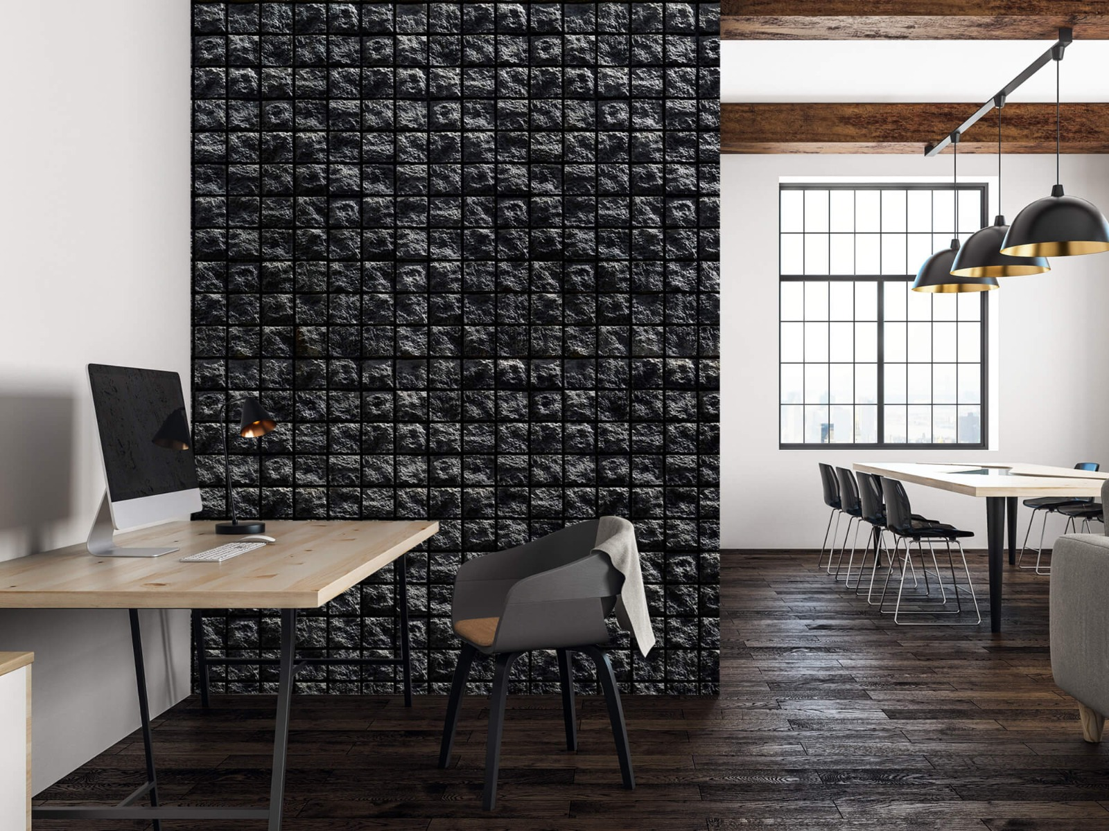 Tegel behang - Vierkante zwarte stenen - Wallexclusive - Woonkamer 22