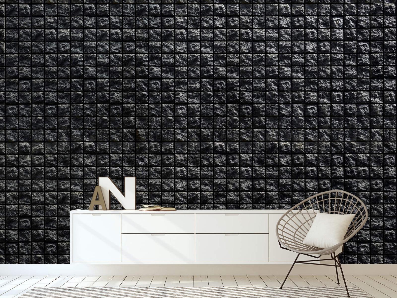 Tegel behang - Vierkante zwarte stenen - Wallexclusive - Woonkamer 23