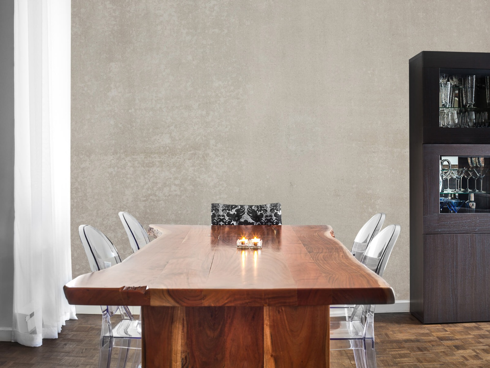 Betonlook behang - Taupe beton - Wallexclusive - Woonkamer 5