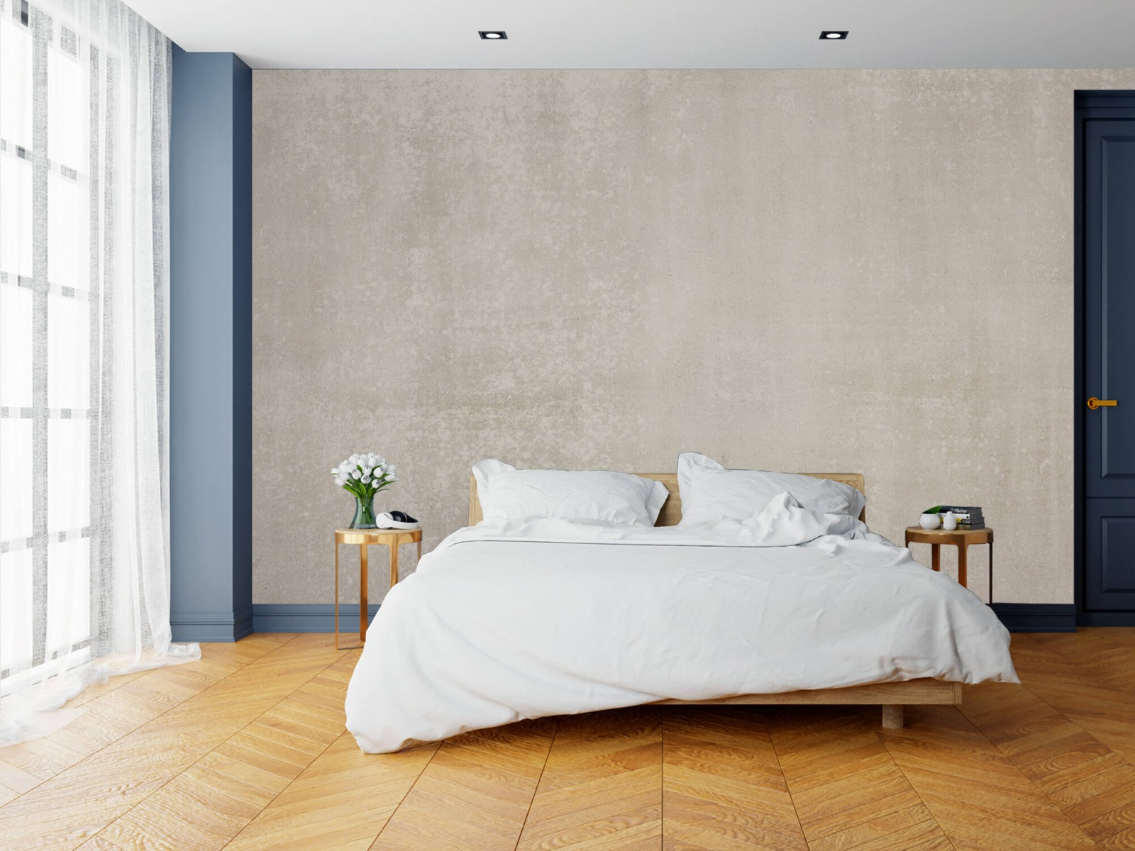 Betonlook behang - Taupe beton - Wallexclusive - Woonkamer 16