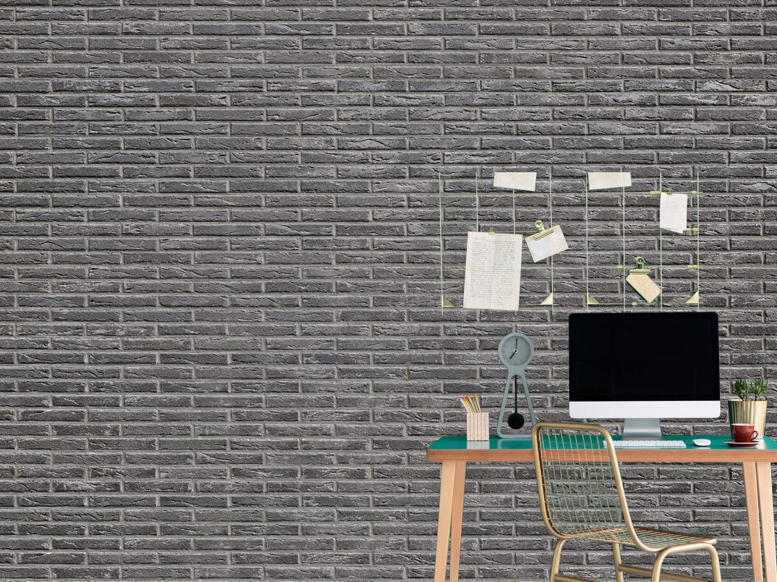 Steen behang - Grijze bakstenen - Wallexclusive - Slaapkamer 12