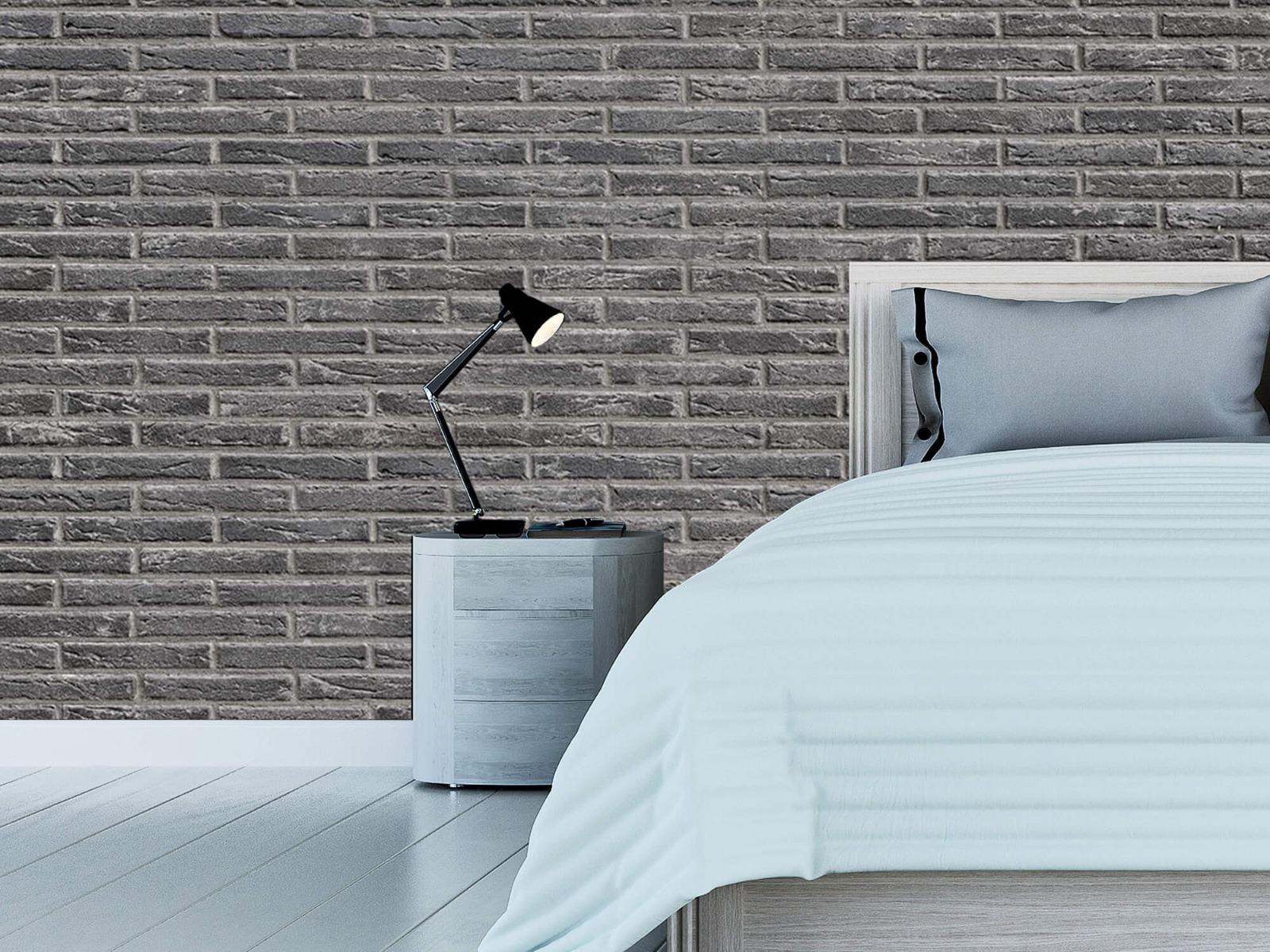 Steen behang - Grijze bakstenen - Wallexclusive - Slaapkamer 17