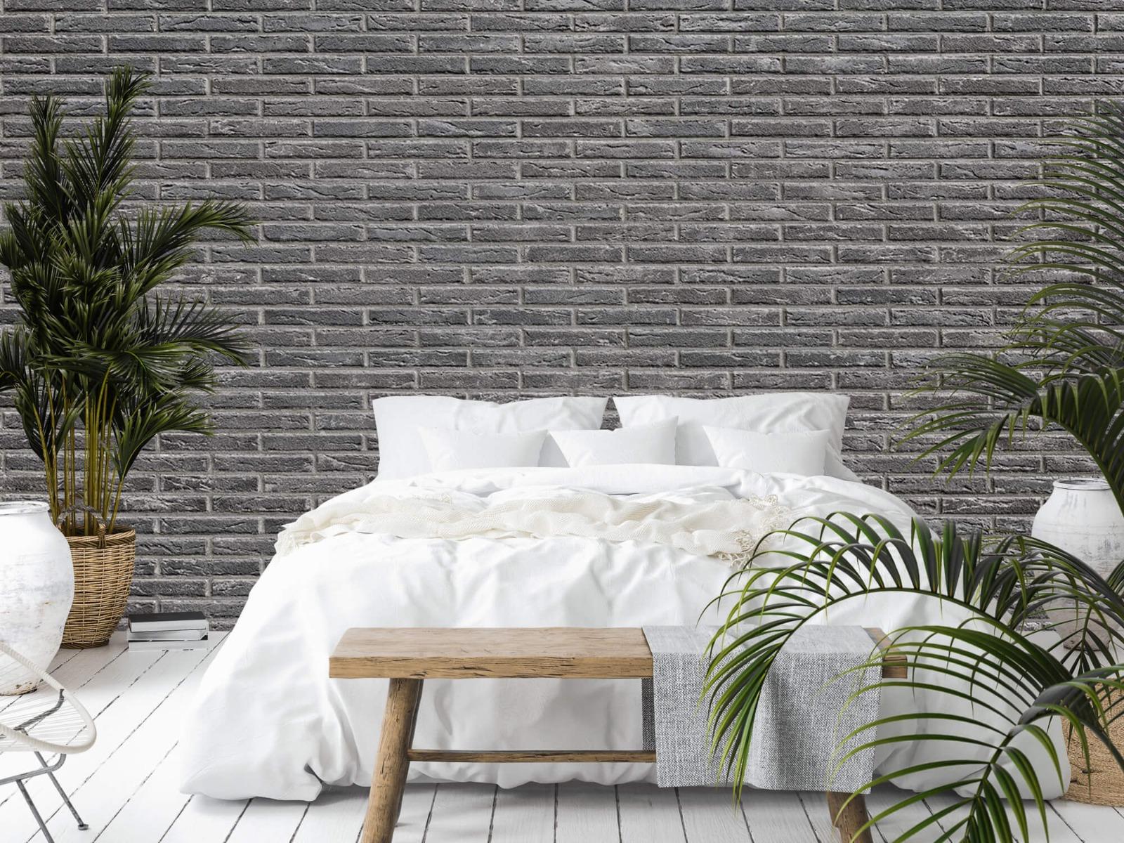 Steen behang - Grijze bakstenen - Wallexclusive - Slaapkamer 1