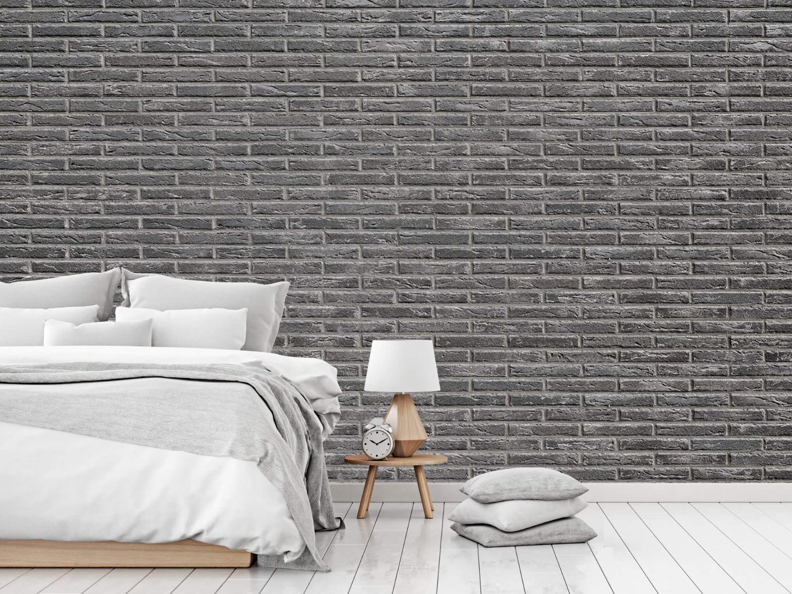 Steen behang - Grijze bakstenen - Wallexclusive - Slaapkamer 18