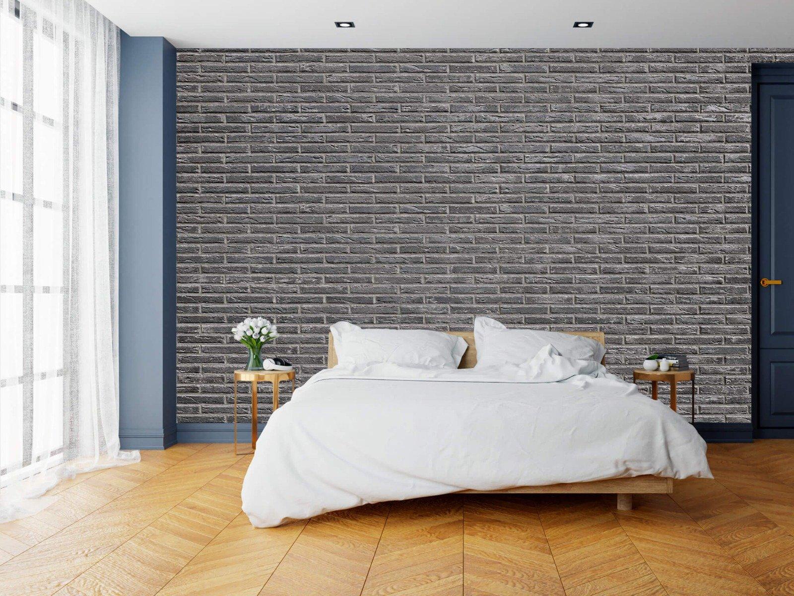 Steen behang - Grijze bakstenen - Wallexclusive - Slaapkamer 6