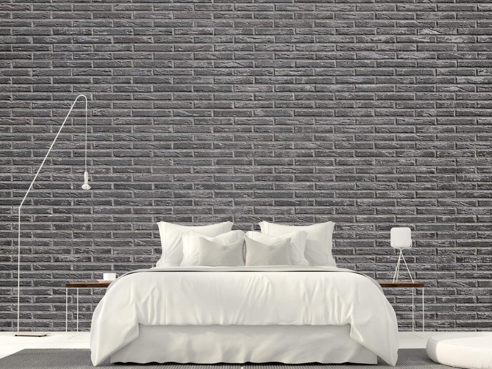 Steen behang - Grijze bakstenen - Wallexclusive - Slaapkamer 19