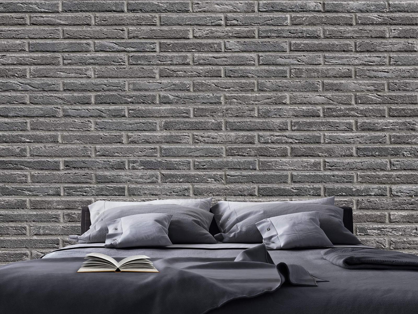 Steen behang - Grijze bakstenen - Wallexclusive - Slaapkamer 20