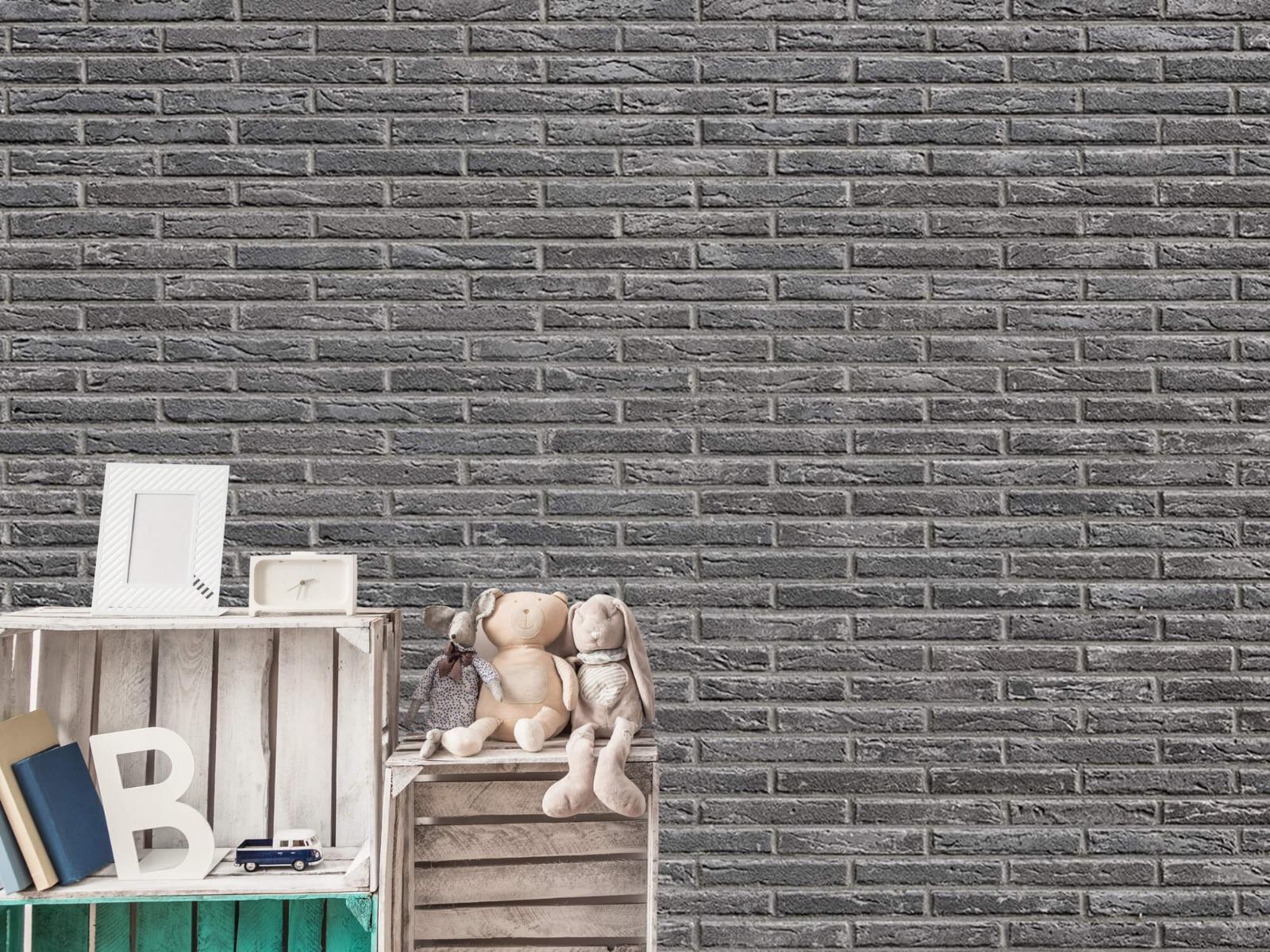 Steen behang - Grijze bakstenen - Wallexclusive - Slaapkamer 3