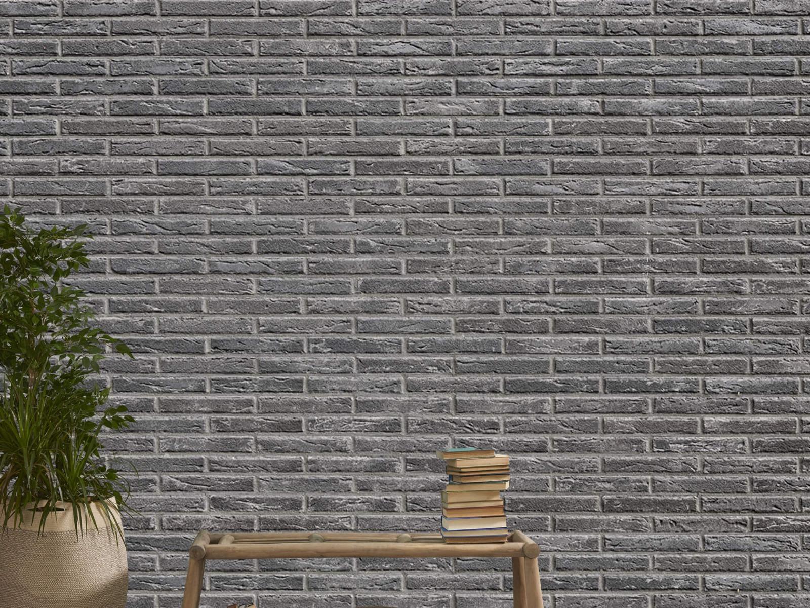 Steen behang - Grijze bakstenen - Wallexclusive - Slaapkamer 21