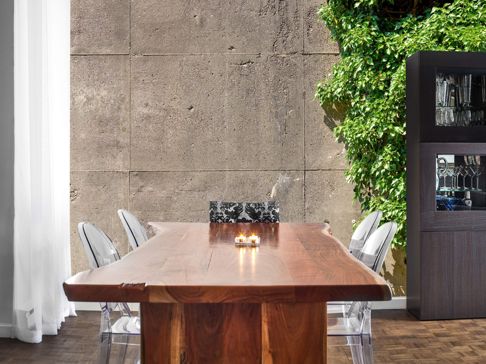 Betonlook behang - Beton met struik - Wallexclusive - Woonkamer 2
